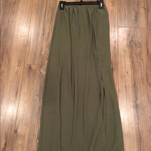Army green maxi skirt